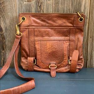 The Sak camel brown leather satchel bag